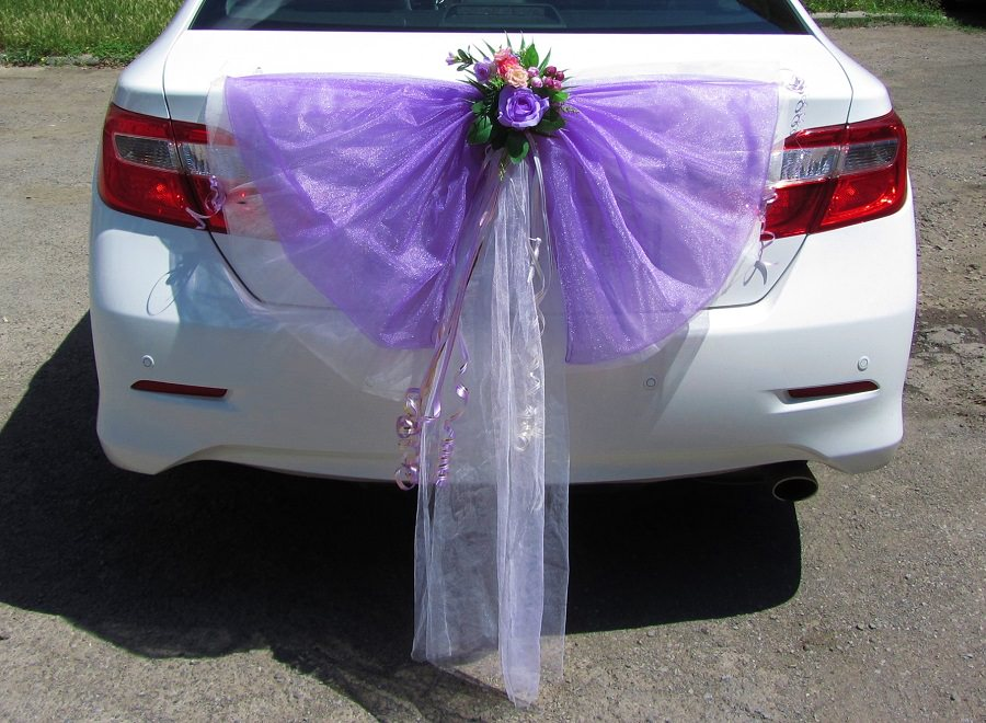 Как сшить бант на машину свадебную 36